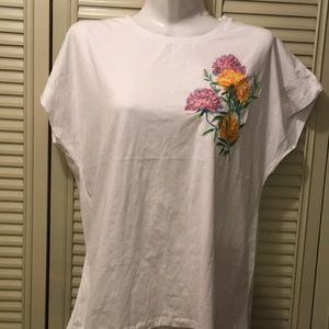 Zara embroidered tee - large